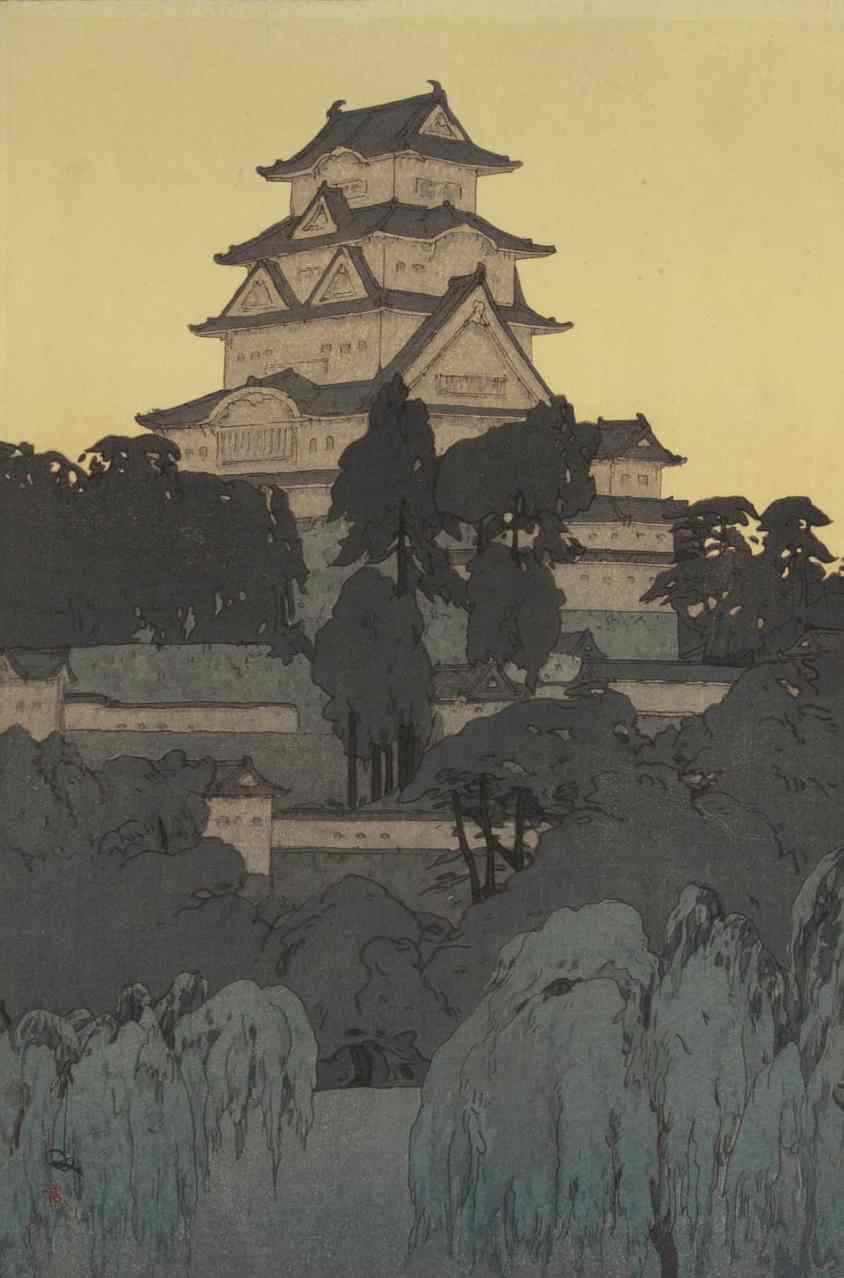 Yoshida Hiroshi, 1876-1950, created this image of Himeji Castle, 1926. The castle was first built in 1333 and rebuilt between 1601 and 1609. Courtesy of the Hyde Collection and the University of Syracuse