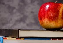 School Onderwijs Leren Appel op stapel boeken