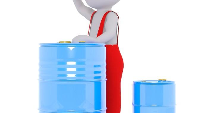 diesel of benzine vaten met een mannetje in rood uniform