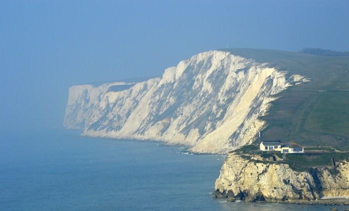 Isle Of Wight Klif Zee Hemel Witte Krijt Kust