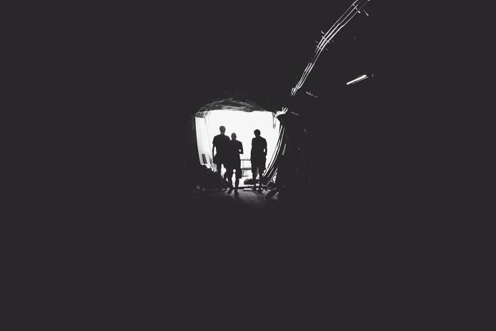 Tunnel Mijnbouw Mijn Mensen Silhouetten Mannen