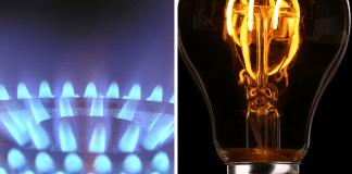 Gas en elektriciteit gasbrander en gloeilamp