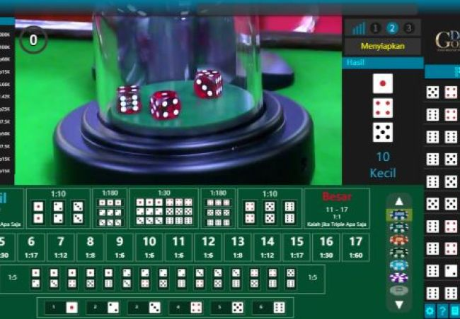 Tampilan arena permainan Sic Bo Golden Deluxe Live Casino