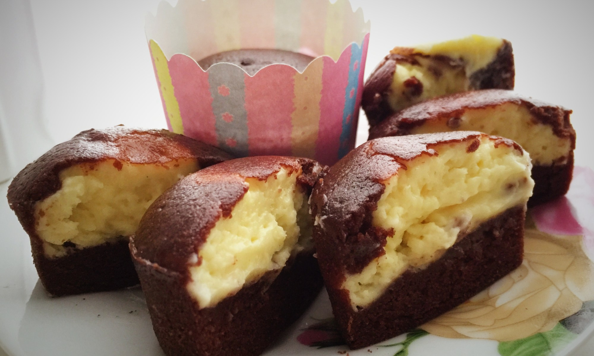 chocolate cupcake filled with cheese