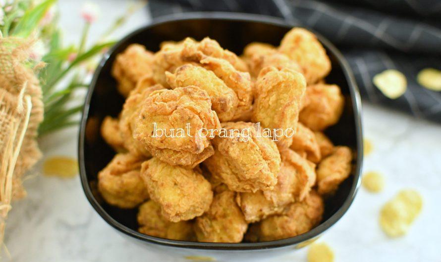Ayam Popcorn Bersalut Emping Jagung Yang Rangup Di Luar Dan Juicy Di Dalam