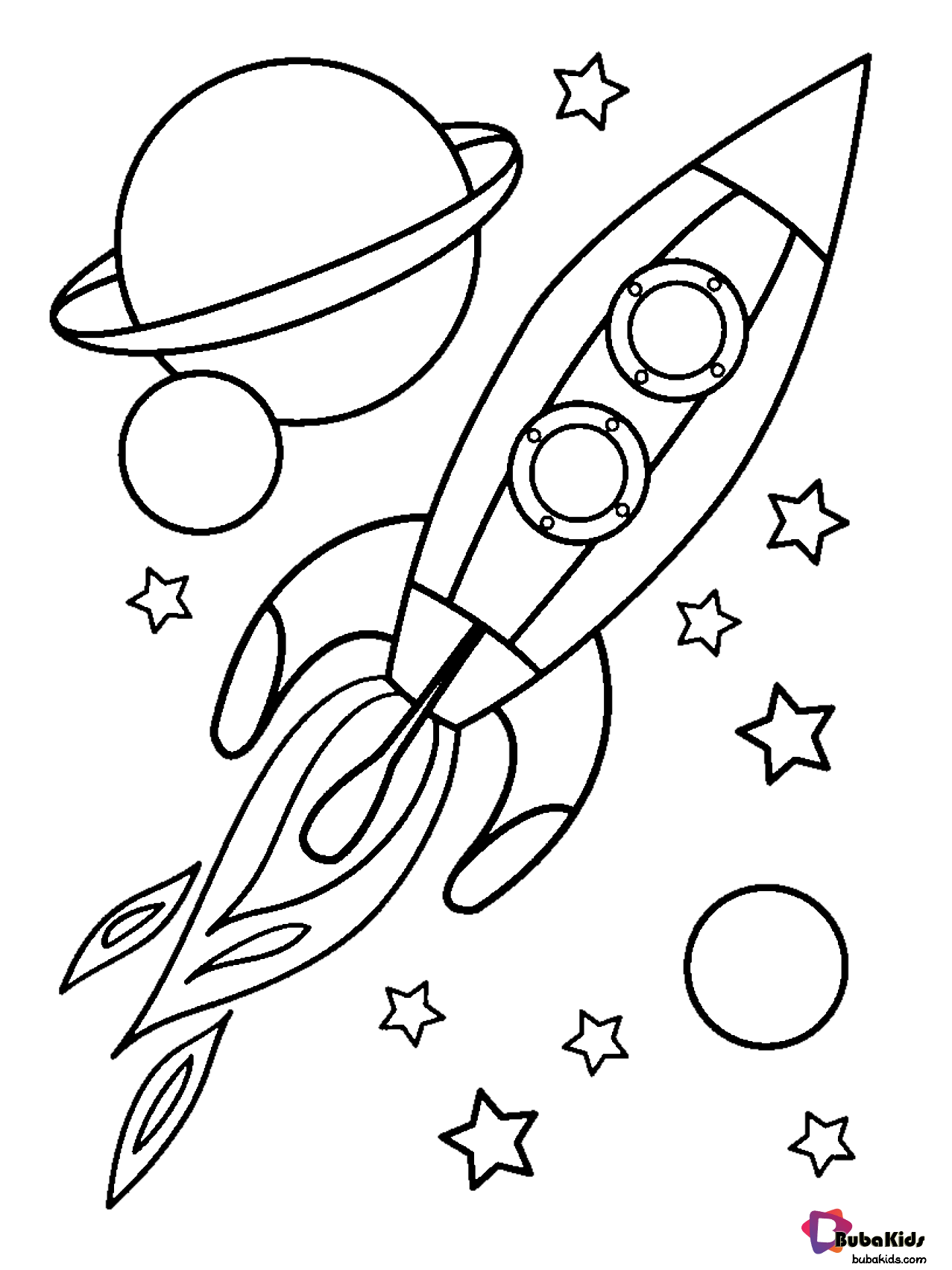 Planets Stars And Rocket In Outer Space Coloring Page