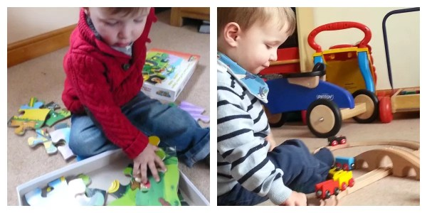 Wooden jigsaws and train sets