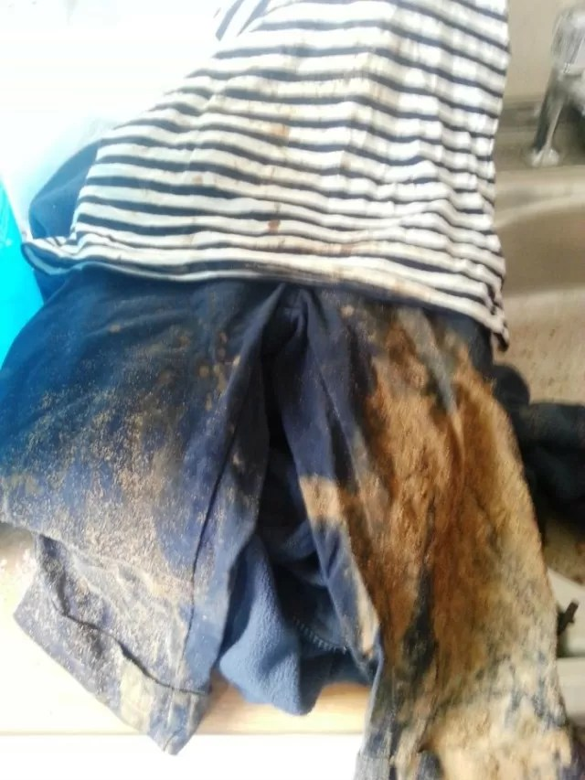 muddy trousers from nursery