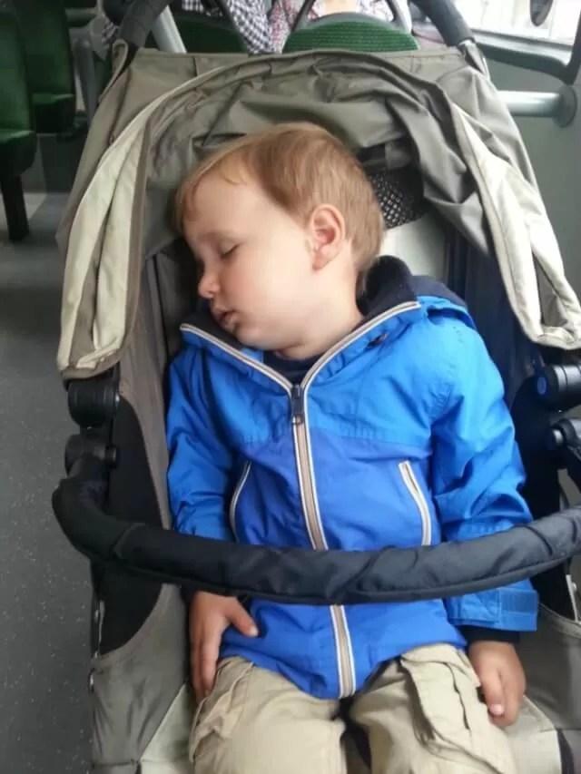 asleep in his buggy