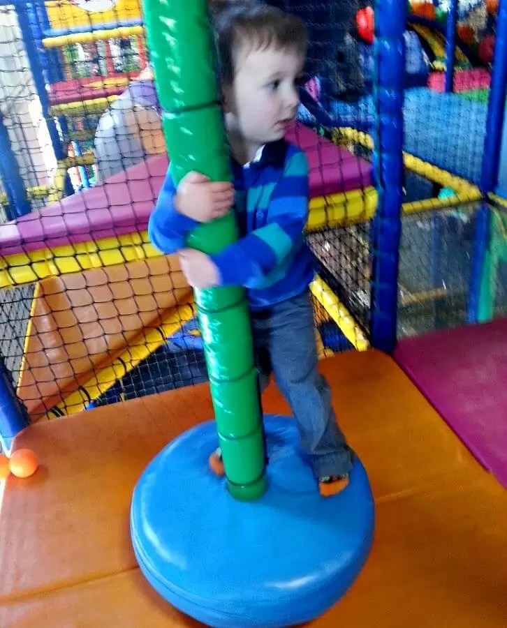 on the twirly pole at soft play