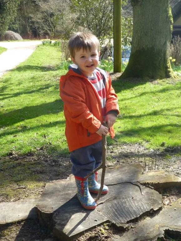 boy posing on tree stump