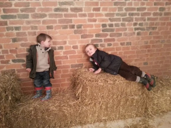 playing on bales