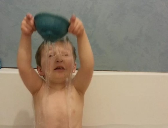 self shower with bath toy