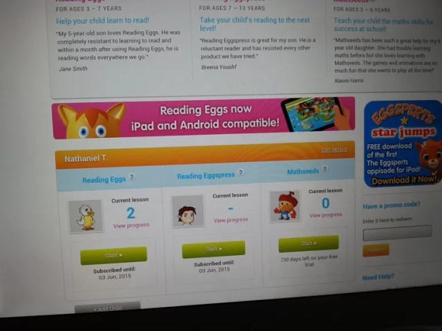 Reading Eggs dashboard
