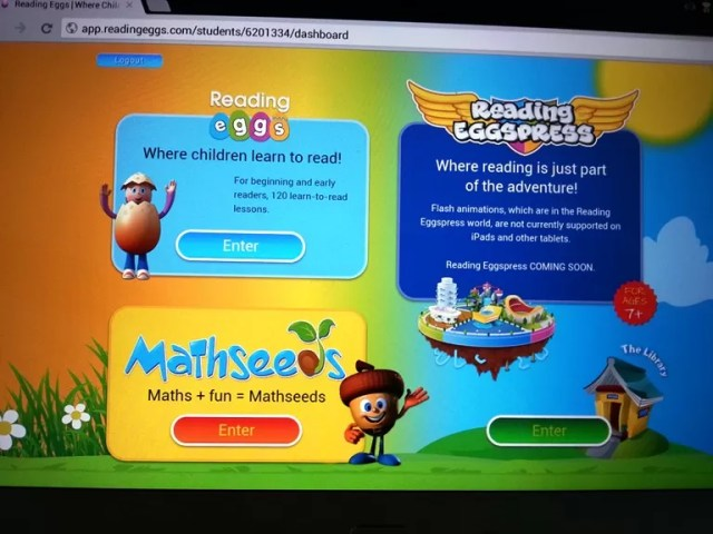 Choice of reading Eggs games