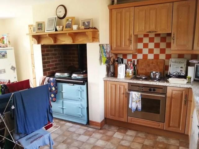 a spacious farmhouse kitchen