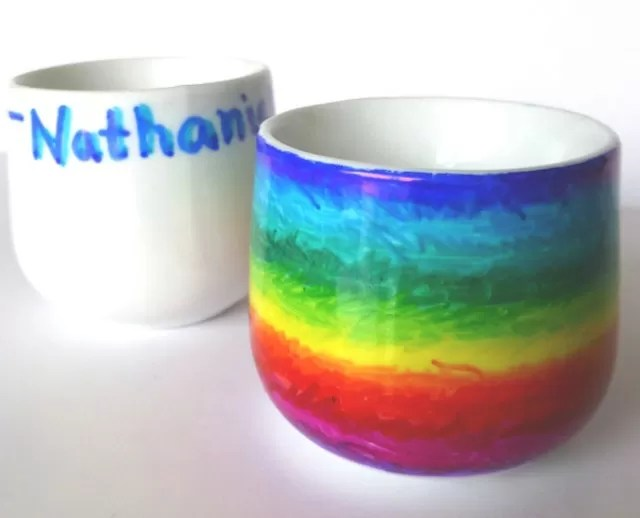 decorated egg cups with sharpies