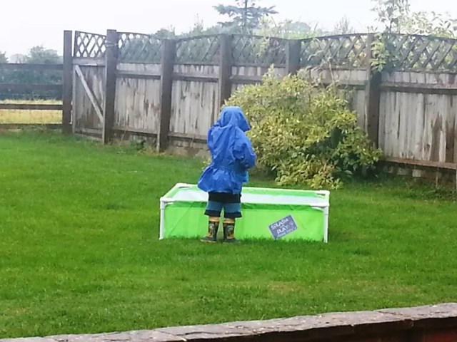 paddling pool in the rain