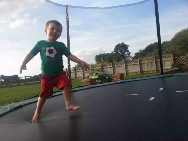 running on the trampoline