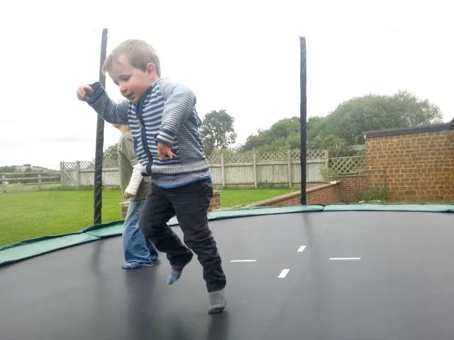 trampolining with his cousin c