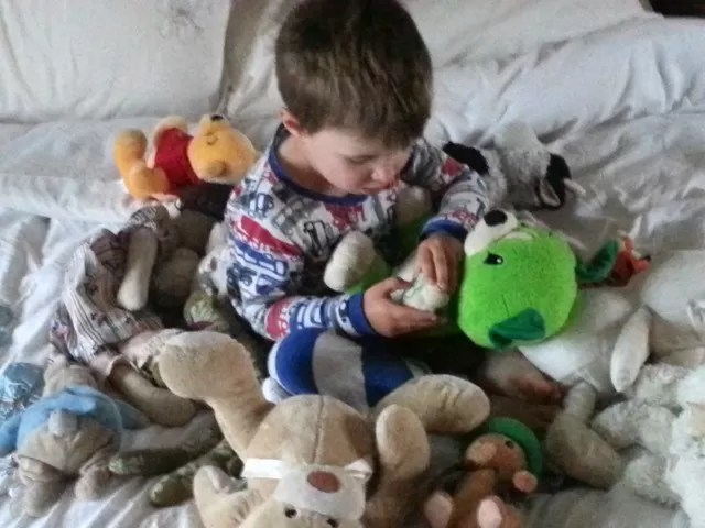 playing with soft toys