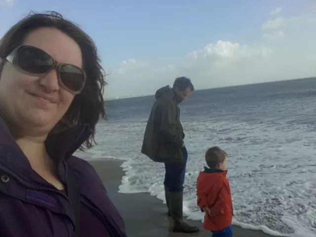 Family photo on Studland beach