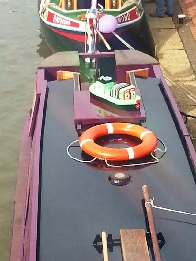 felt narrow boat on a barge