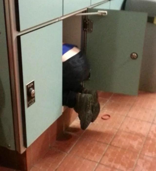 hiding inside a swimming locker