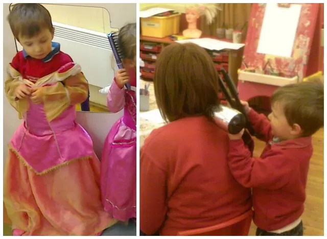 playing at princesses and hairdressers