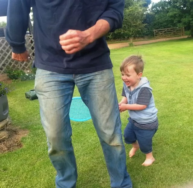chasing daddy with a tennis racquet
