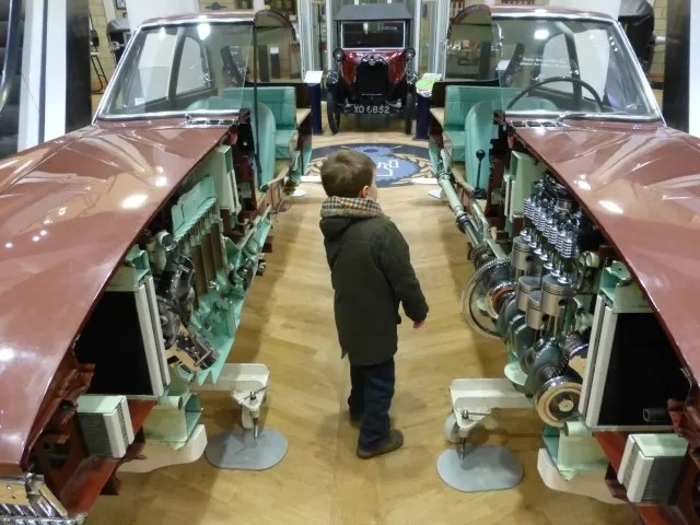 inside of a car at Heritage Motor Museum