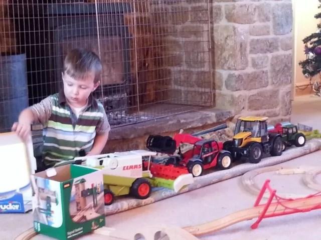 lining up the farming toys - Bruder