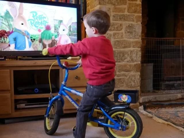 bike seat watching tv