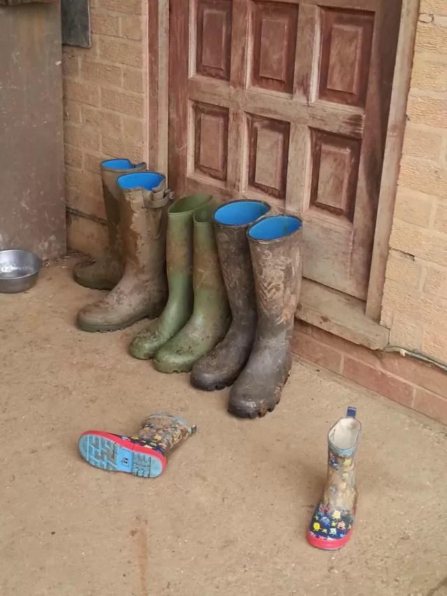 stranded wellies outside a door