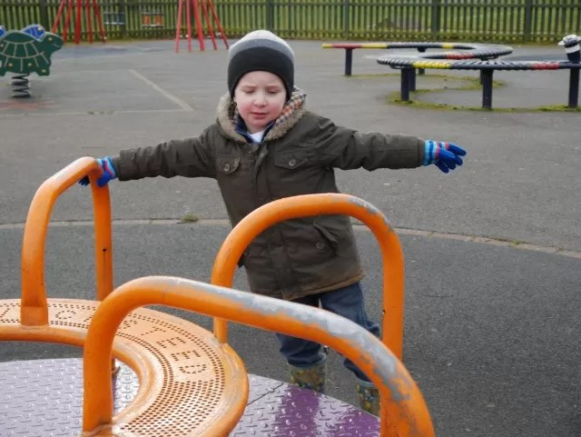 playing with the roundabout
