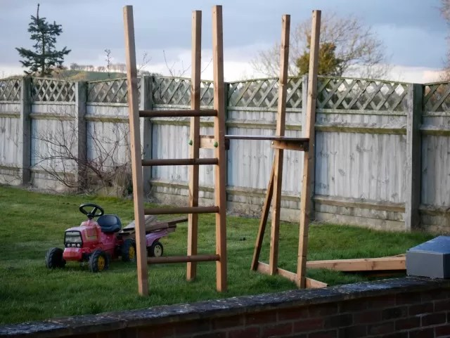 Dunster house wooden climbing frame in progress