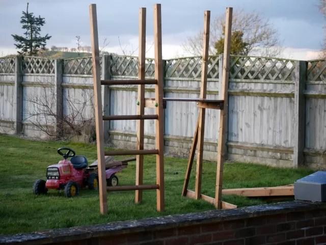 Dunster house wooden climbing frame in progress