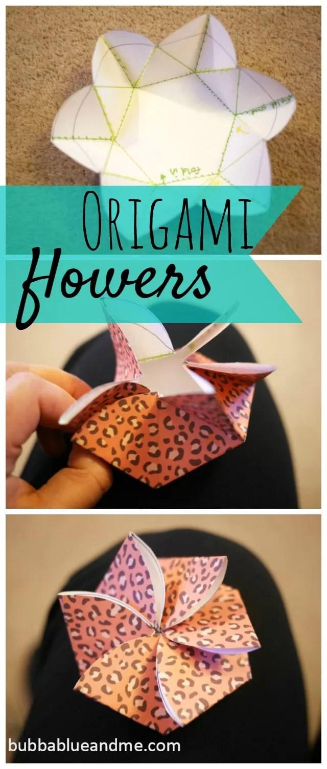 Make an origami flower notelet - Bubbablueandme