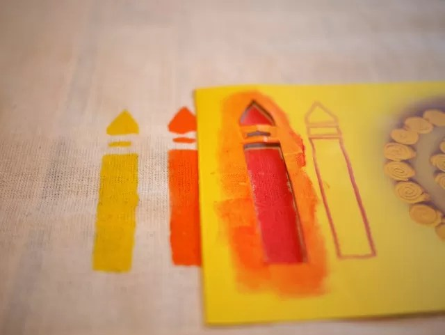 stencilling crayons on cotton bags