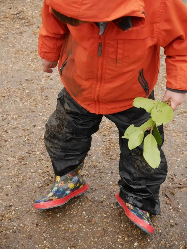 Muddy and wet from puddles at Waddesdon Manor