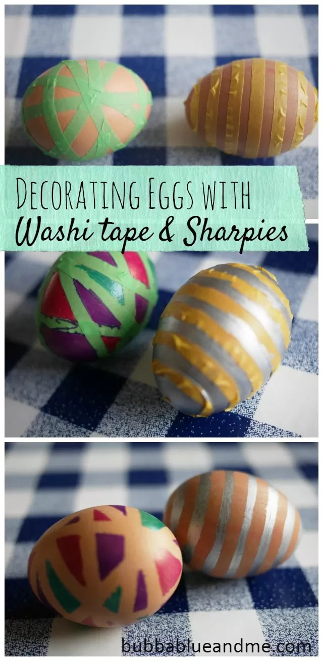 decorating eggs with washing tape and sharpie