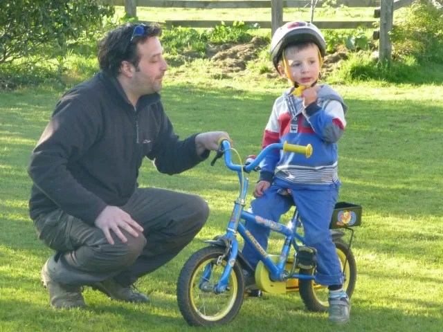 learning to ride his bike