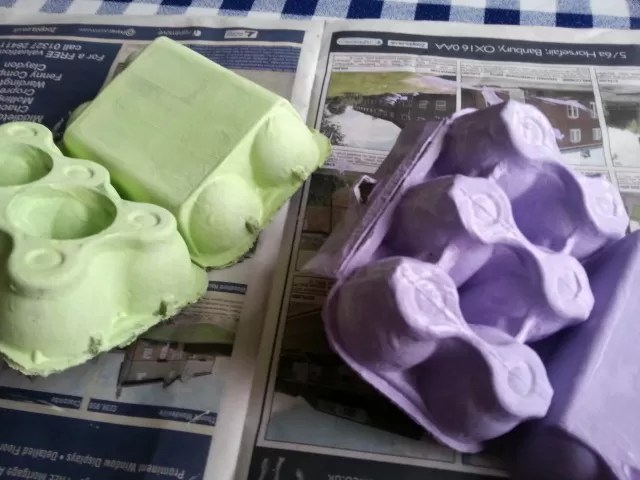 painted egg boxes