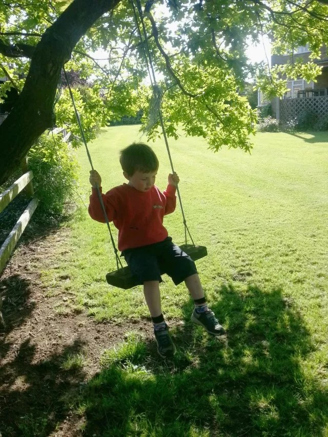 playing on the swing in the garden at the farm