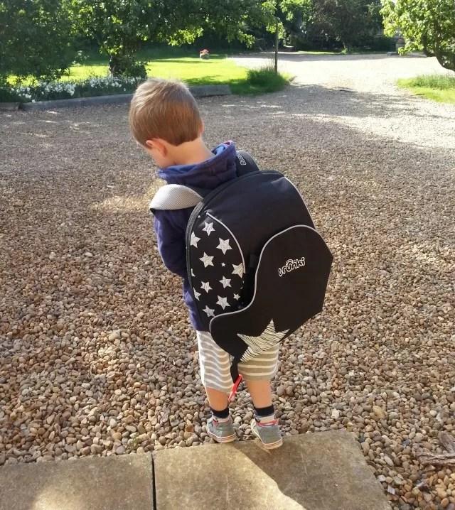 Taking his Trunki Boosapak to nursery