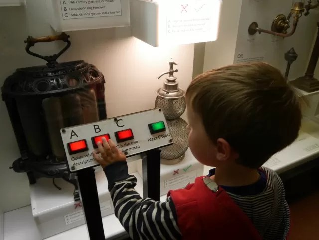 Pushing buttons at science museum london