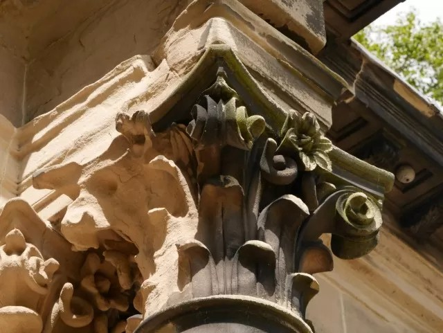 close up stone work at Trentham Estate ruins