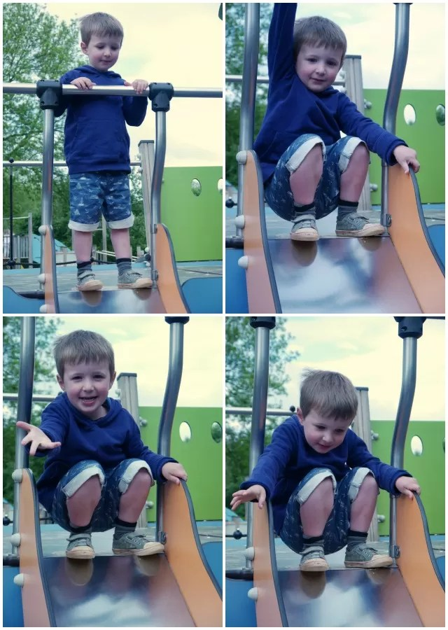 on the slide at Stratford playground