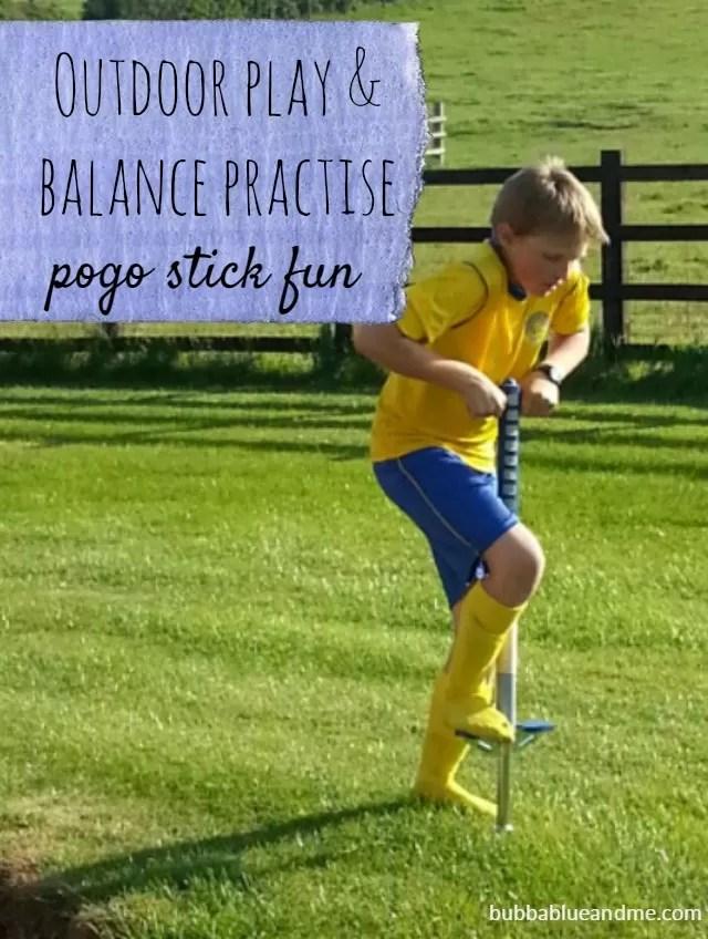 outdoor play & balance practise - pogo stick fun