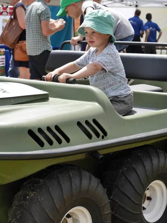 Riding on the amphibious vehicle